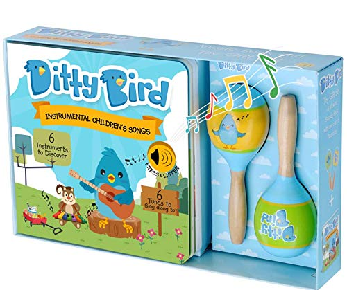 Ditty Bird Our Best Gift Box: ​Interactive Instrumental Kids Songs Book & Toy Maracas for Babies. Educational​ Sing Along Toys for​ ​Baby, Toddler, 1 Year Old. Birthday Gift for 1 Year Old Boy Girl