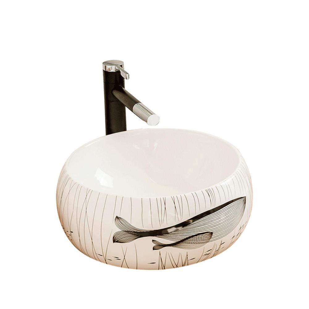 Zybnb Vasque /à poser en c/éramique /évier de salle de bain lavabo vasque /à poser en c/éramique europ/éenne lavabo rectangulaire