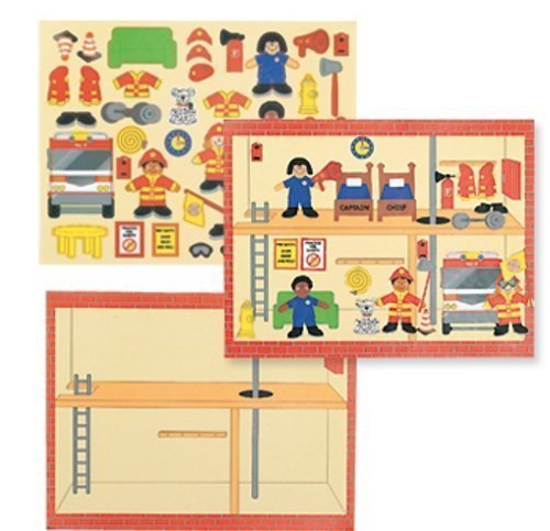 12 Design Your Own Firefighter Fire Station Truck Sticker Scenes Kids Children Play Set ()
