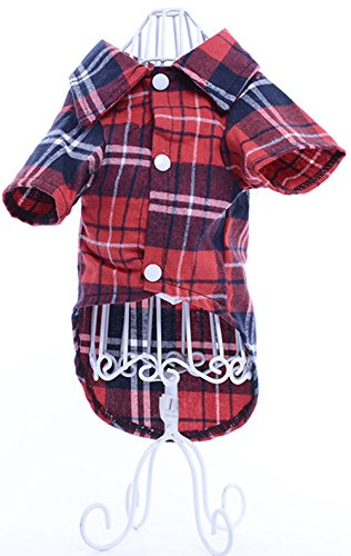 Homemade Costume Squirrel Tail (Freerun Pet Small Dog Cat Puppy New Style Cotton Plaid Lapel Shirt T-Shirt Clothing Costumes - Red,)