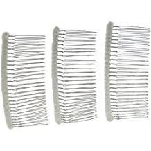 Enchanted Brides 27 Teeth Fancy DIY Tulle-Wrapped Metal Wire Hair Combs for Bridal Wedding Veil Combs(#C266x3) (Ivory)