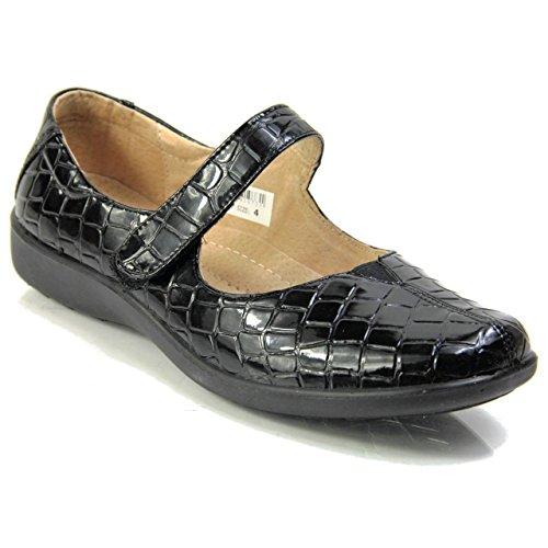 Boulevard L803 - Hook & Loop Strap Faux Croc Leather Low Wedge Shoes Black t4ENUsz0GB