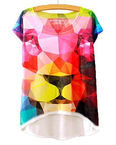LemonGirl Women Colour Print Loose Shirt One Size Blouse Tops