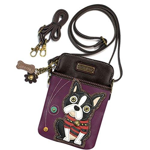 Boston Terrier 3 in 1- Wallet/Crossbody Purse/Wristlet with Bone Zipper Pull (Purple Boston)