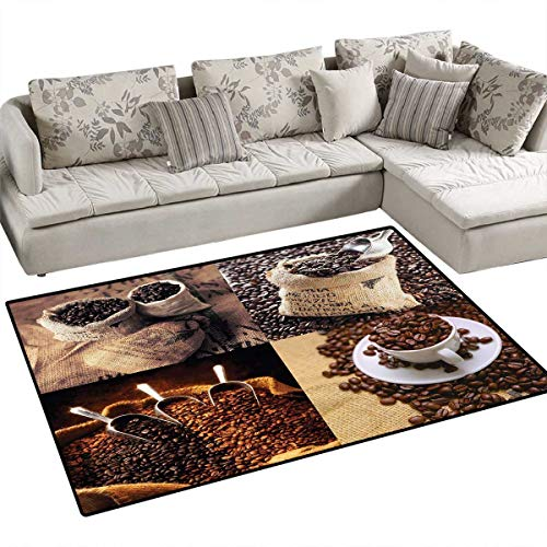 Boating Collage - Coffee Kids Carpet Playmat Rug Rustic Collage of Images Showing Different Kinds of Roasted Grains Door Mats for Inside Non Slip Backing 4'x6' Brown Dark and Sand Brown
