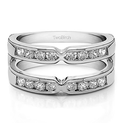 1/4 ct. Diamonds (G-H,I2-I3) X Design Round Brilliant Cut Classic Style Ring Guard in Sterling Silver (0.25 ct. twt.) by TwoBirch