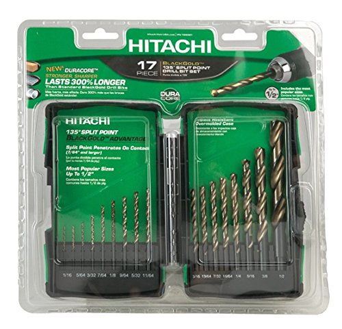 Hitachi 728081 17-Piece Split Point Black Gold Drill Bit Set (Discontinued by the Manufacturer)