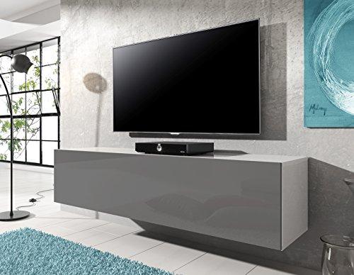 Meuble TV suspendu Rocco 140 cm Blanc gris brillant plet
