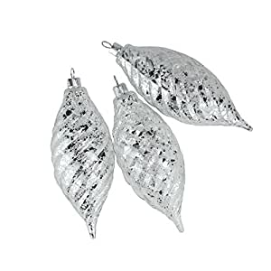 Barcana 3 Count Clear Spiral Finial Shatterproof Christmas Ornaments with Silver Speckles