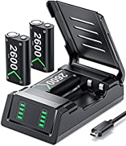 Controller Battery Pack Replacement for Xbox One/Xbox Series X S, VOYEE 3x2600 mAh Rechargeable Battery Pack C