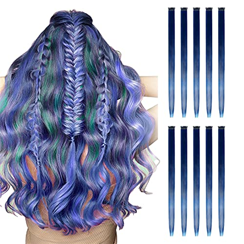10 PCS Colored Hair Extensions,Rainbow Colors Hair Extensions,Straight Highlights Hairpieces Clip in Synthetic Hair for Girls(#04-purple)