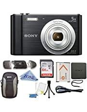 $139 » Sony W800/B DSC-W800/B DSCW800B 20 MP Digital Camera 5X Optical Zoom (Black) Bundle with 64GB SDHC Memory Card, Table top Tripod, Deluxe Case, and Microfiber Lens Cloth