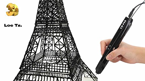 Newest Model 3D Crafts Printing Printer Pen Bonus for Kids. Adults Arts Crafts Model DIY, 3D Drawing and Doodler Pen with LED Display. Use PLA, ABS Material Art Supplies and USB Power Supply (Black) by Loe Ts.