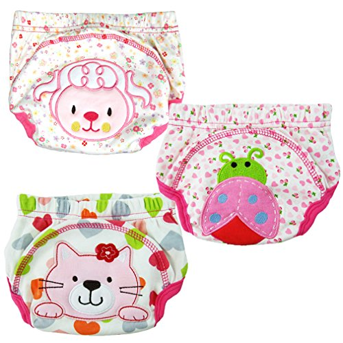 Pack of 3pcs Smartlife Baby Toilet Potty Training Pants with 3 Layer for Infant Baby (XL/100, Girl)