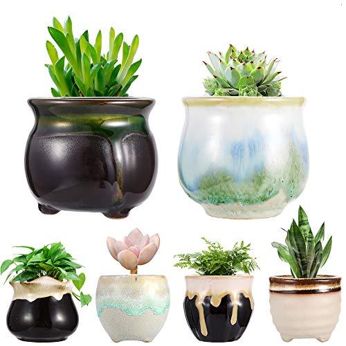 Planter Pots,Ceramic Succulent Mini Flower Pots Container Bonsai Planters Pots with Hole Flower Plant Pots Garden Planters Pots,Home and Office Decoration Desktop Windowsill Gift-Set of 6