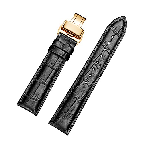 EHHE ZPF Calfskin Leather Replacement Watch Bands with Gold Deployment Buckle for Men and Women 18mm-24mm (Calfskin Band Watch)