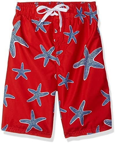Toddler Boys' Starfish Sea Life Quick Dry Beach Board Shorts Swim Trunk Red 3T [並行輸入品]