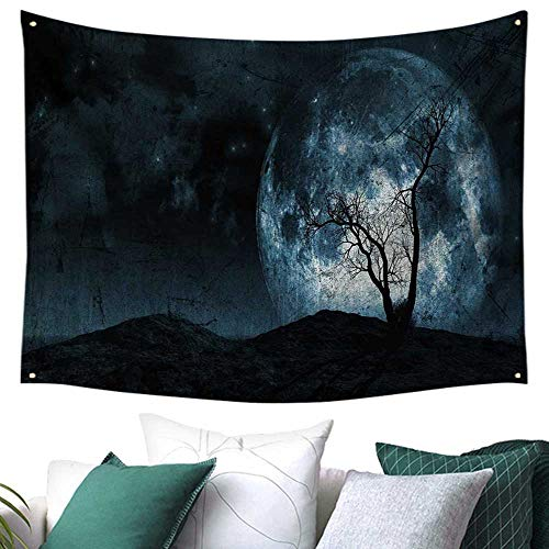 WilliamsDecor Fantasy Tapestry for Bedroom Night Moon Sky with Tree Silhouette Gothic Halloween Colors Scary Artsy Background Home Decor Couch Cover 80W x 60L Inch Slate Blue