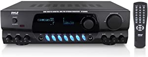 Pyle 200W Home Audio Power Amplifier - Stereo Receiver w/ AM FM Tuner, 2 Microphone Input w/ Echo for Karaoke, Great Addition to Your Home Entertainment Speaker System - PT260A