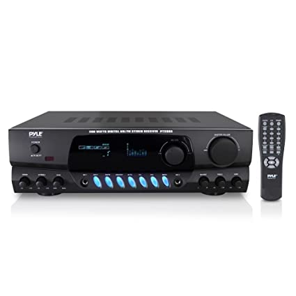 Pyle 200W Home Audio Power Amplifier - Stereo Receiver w/ AM FM Tuner, 2  Microphone Input w/ Echo for Karaoke, Great Addition to Your Home