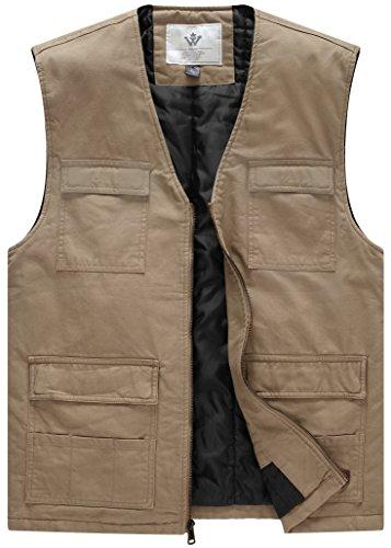 (WenVen Men's Windbreaker V Neck Cotton Filed Vest(Khaki,Large))