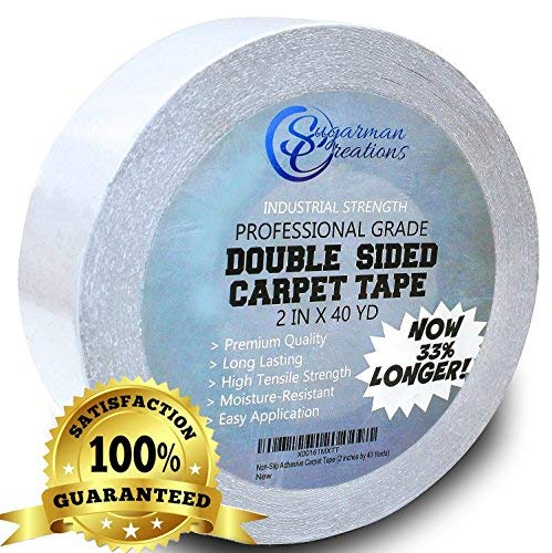 - Sugarman Creations Strongest Double Sided Carpet Tape-[2-Inch-by-40-Yard,120 feet!-2X More!]- 5 Stars Professional Grade,Industrial Strength,Heavy Duty Rug Tape.Top Rated Carpet Underlayment Adhesive