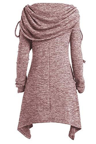 Yacun Manga De Túnica Para Mujer Sudadera Blusa Mini Rosa Larga Vestido qYCxqr