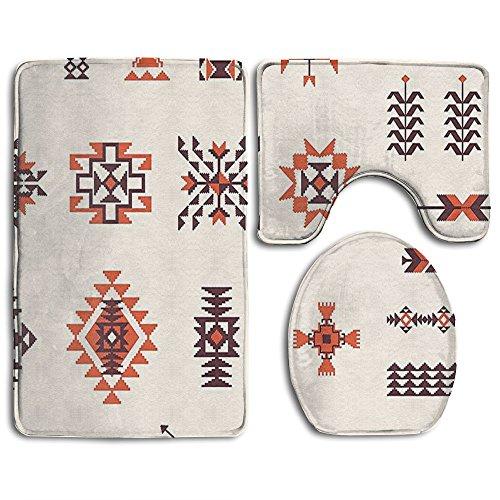 Guiping Illustration Of Navajo Aztec Pattern Tribal Bathroom Rug Mats Set 3 Piece,Funny Bathroom Rugs Graphic Bathroom Sets,Anti-skid Toilet Mat Set