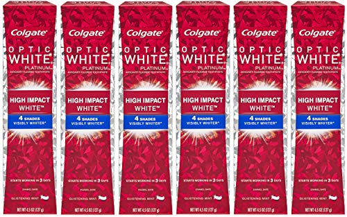 Colgate Optic White High Impact White Whitening Toothpaste – 4.5 ounce (6 Pack)