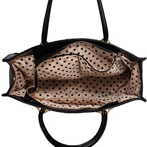 Xardi London donna grande lavoro Tote borsa a tracolla design in finta pelle verniciata donna borsetta Black Textured