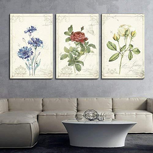 3 Panel Vintage Style Flowers x 3 Panels