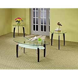 Coaster Contemporary Cappuccino and Chtome Three Piece Occasional Table Set