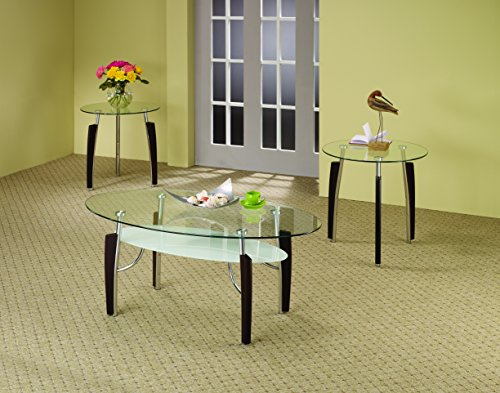Coaster 701558 3-Piece Occasional Table Set with Glass (3 Piece Glass Top Table)