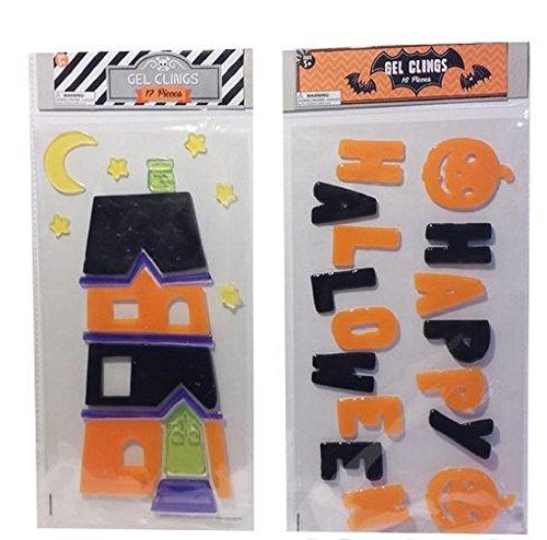 Halloween Gel Window Clings - 2 Sheets Happy Halloween, Pumpkins, Haunted House Scene ()