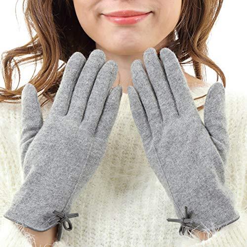 searina 手袋 レディース スマホ 対応 可愛い おしゃれ 防寒 極暖 レザー リボン ウール あったか