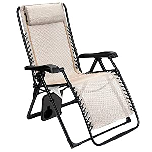 Timber Ridge Oversized XL Padded Zero Gravity Chair - Beige
