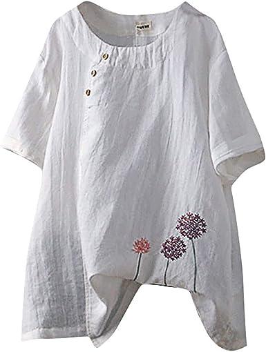 Blusa Tipo túnica de Lino y algodón Suelto Vintage con ...