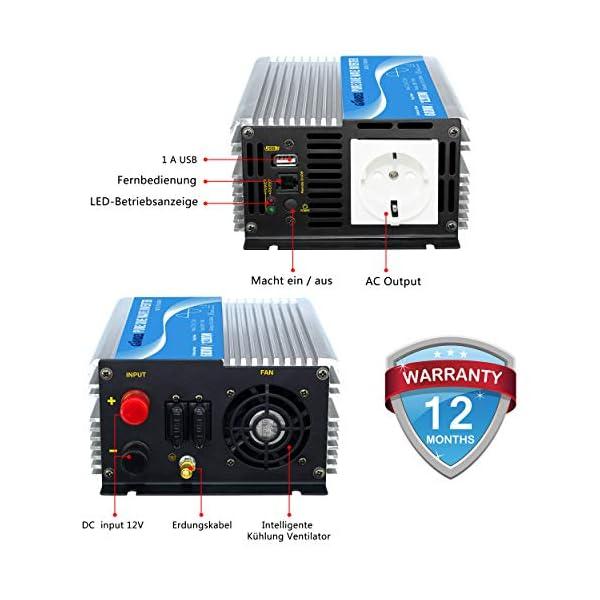 51kszzXyGoL 600W Wechselrichter Reiner Sinus Spannungswandler 12V auf 230V Power Inverter mit Fernbedienung und USB-Anschluss für…