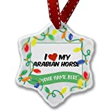 Personalized Name Christmas Ornament, I Love my Arabian Horse NEONBLOND
