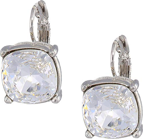 (Kenneth Jay Lane Women's Silver Eurowire/Crystal 12mm Faceted Square Stone Earrings Crystal One Size)
