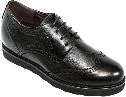 CALDEN Men Leather 3.2 Inches Casual Shoes Black