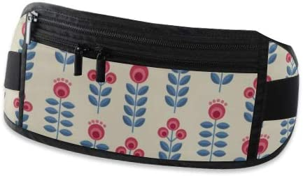 Scandinavian Folk Style Flowers Floral Running Lumbar Pack For Travel Outdoor Sports Walking Travel Waist Pack,travel Pocket With Adjustable Belt