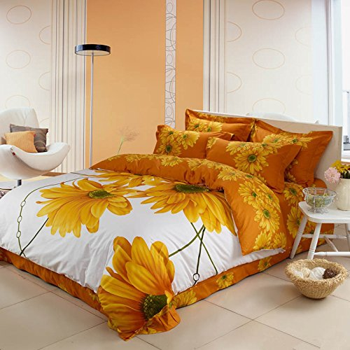 LELVA Sunflower Bedding Set Sunflower Duvet Cover Set King Queen Size 100% Cotton Reactive Dye Printing Bedding 4 Pcs (Queen)