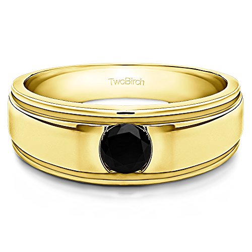 14k Yellow Gold Cool Mens Ring Black Diamonds(0.5Ct) Size 3 To 15 in 1/4 Size Intervals