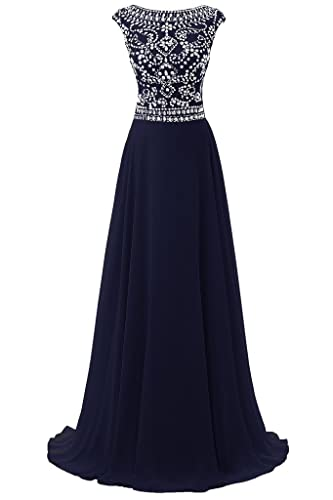 Dresstore Women's Long Chiffon Bridesmaid Dress Cap Sleeves Beaded Prom Eveing Gown