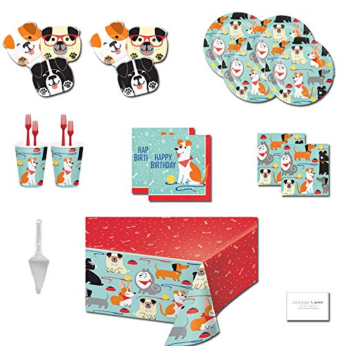 Dog Party Supplies Dog Themed Birthday Party Supplies - Tableware for 16 Guests - Plates, Napkins, Cups, Forks, Tablecloth, and Cake Server ()