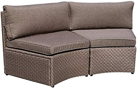 SUNSITT Outdoor 2-Piece Half-Moon Sectional Woven Sectional Set Armless Chair