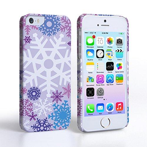 Caseflex iPhone 5 / 5S Hülle Lila / Blau Winter Weihnachten Schneeflocke Muster Hart Schutzhülle