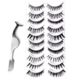 Goldrose 10 Different Styles 10 Pairs Black Long Thick& Most Natural Looking Reusable Charming Cross Makeup False Eyelashes Fake Eye Lash Extension Handmade Soft