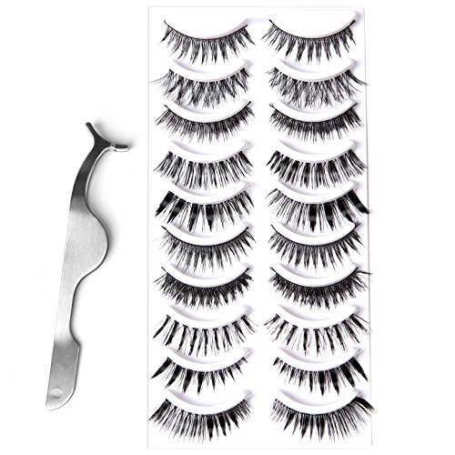 Apply False Eyelashes (Goldrose 10 Different Styles 10 Pairs Black Long Thick& Most Natural Looking Reusable Charming Cross Makeup False Eyelashes Fake Eye Lash Extension Handmade)